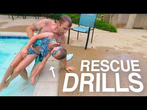SWIMMING POOL WATER RESCUE DRILLS! PRACTICING SAVING LIVES!