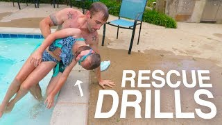 🚨EMERGENCY POOL RESCUE FROM DROWNING...🌊😲 LIFE-SAVING DRILLS!!