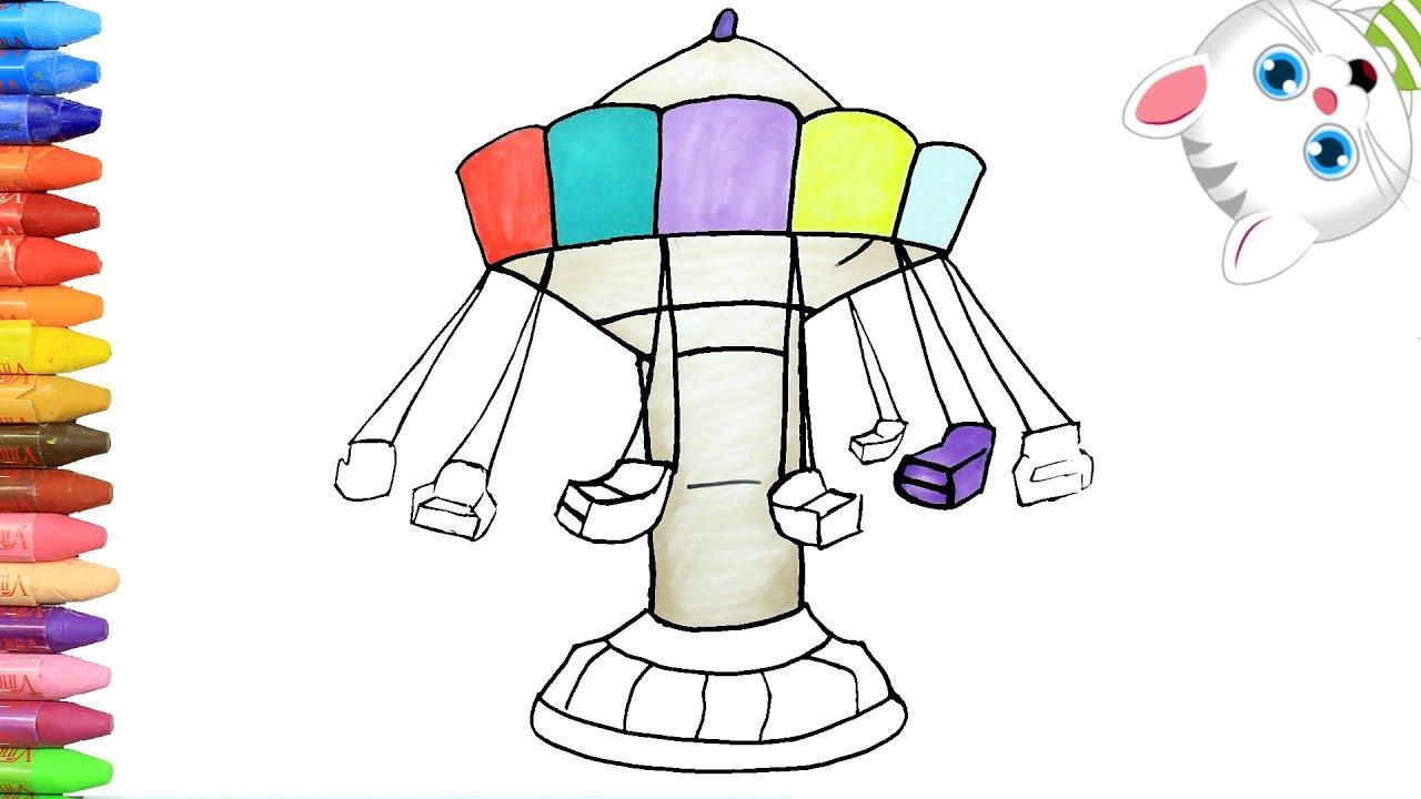 Cómo Dibujar Y Colorear Parque De Atracciones Dibujos Para Niños Con Mimi Aprender Colores