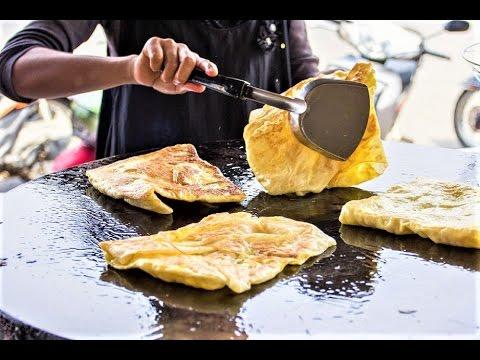 Thai Street Food: Banana filled Roti - Fried Roti with ...
