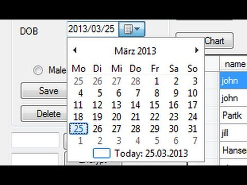 Visual C++ Tutorial 39 -Windows Forms Application: How to use  DateTimePicker and save date