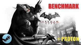 Batman Arkham City benchmark with Steam Play Proton compatibility layer for Linux