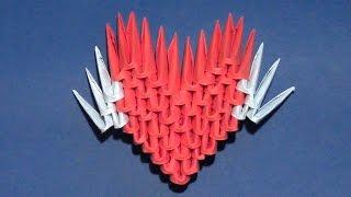 Простое модульное оригами сердце Валентинка с крыльями для начинающих