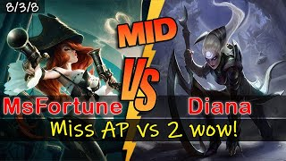 Miss Fortune Mid  - Miss AP vs 2 enemies WOW !