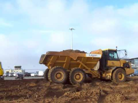 Lagan at Guernsey Airport - Removing Earth Bank by The Terminal Building