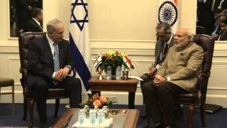 Repeat youtube video PM Netanyahu's meets with PM of India