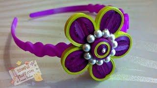 DIY - How to make paper quilled hair band, paper quilling flower tutorial