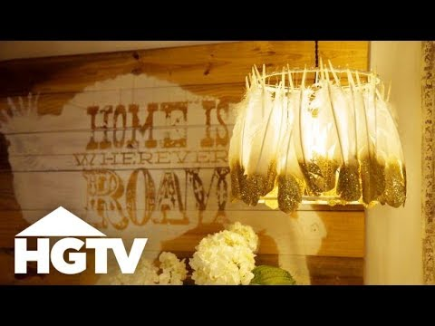 DIY Glitter Feather Lampshade - The Find & The Fix - HGTV