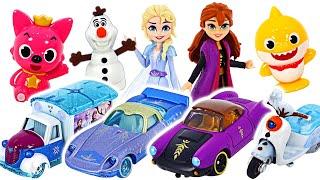 Elsa and Anna and Olaf! Ride the Frozen Tomica | PinkyPopTOY