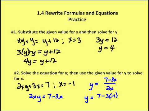 14 Rewrite Formulas And Equations Practice Youtube