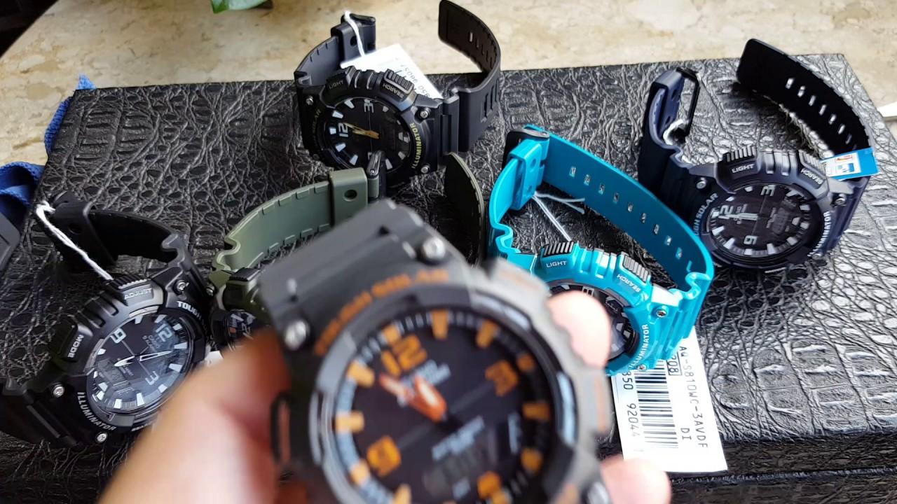 12e1649c5f7 Relógio Casio Tough Solar 5 alarmes Varias Cores Aq s810w. Altarelojoaria