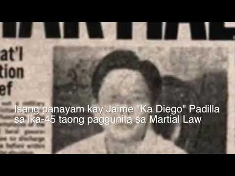 "Reference Person: Jaime ""Ka Diego"" Padilla, Tagapagsalita, Melito Glor Command, New People's Army –"