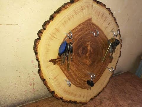 Ключница из спила дерева своими руками
