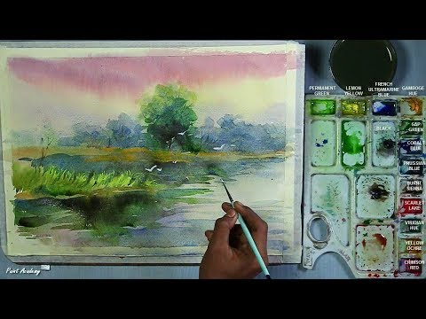 Watercolor Landscape Painting step by step
