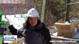 The Joker at Six Flags New England construction tour