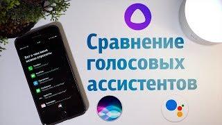 сравнение голосовых ассистентов  Google Assistant, Apple Siri, Яндекс Алиса