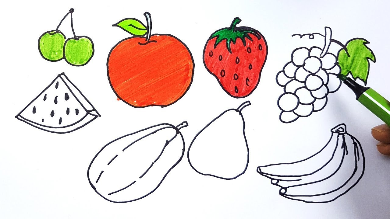 How To Draw Fruits And Coloring For Kids Drawing Fruits And