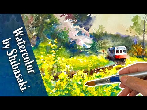 Canola flowers and Train landscape | Watercolor Painting demo | Calming art