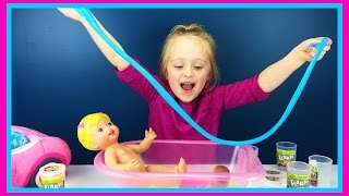 bad baby dolls slime bath rainbow flarp fart putty gummy doll bathtub w play doh girl fun factory