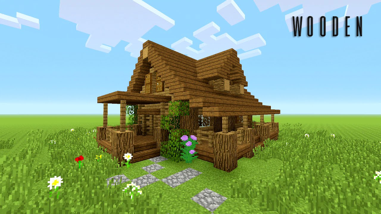 Minecraft wood house images galleries for Classic house tutorial