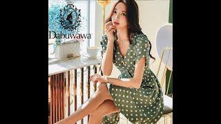 Женское винтажное платье в горошек dabuwawa элегантное с v образным вырезом и пышными рукавами