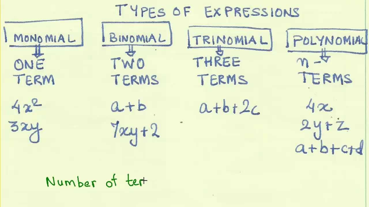 Comfortable 03 Types Of Algebraic Expressions Monomial Binomial
