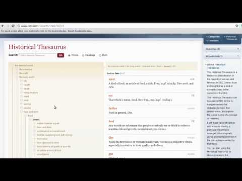 Historical Thesaurus of the Oxford English Dictionary (1): examining words