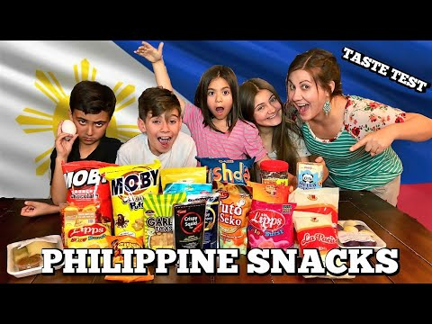 PHILIPPINES FOOD TASTE TEST | AMERICAN KIDS TRY FILIPINO CANDY | KIDS REACT / EAT FILIPINO SNACKS