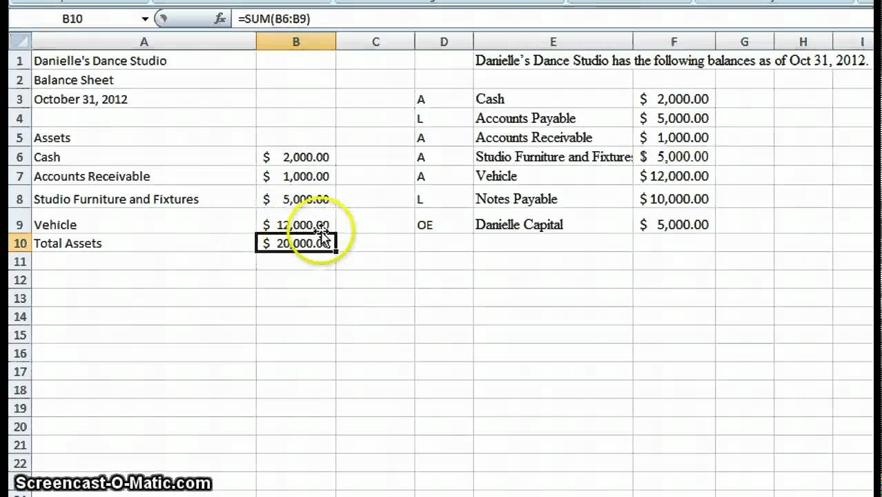 create a simple balance sheet