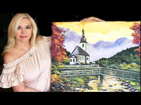 Acrylic Art Lesson – How to paint a Landscape  for beginners and intermediate students
