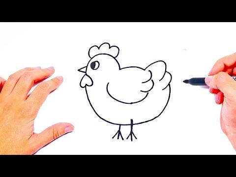 Cómo dibujar un Gallina | Dibujos de Animales de La Granja
