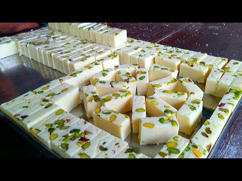 Milk Powder Burfi Sweet Recipe | How To Make Ice Cream Burfi | Milk Barfi | Indian Sweets Making