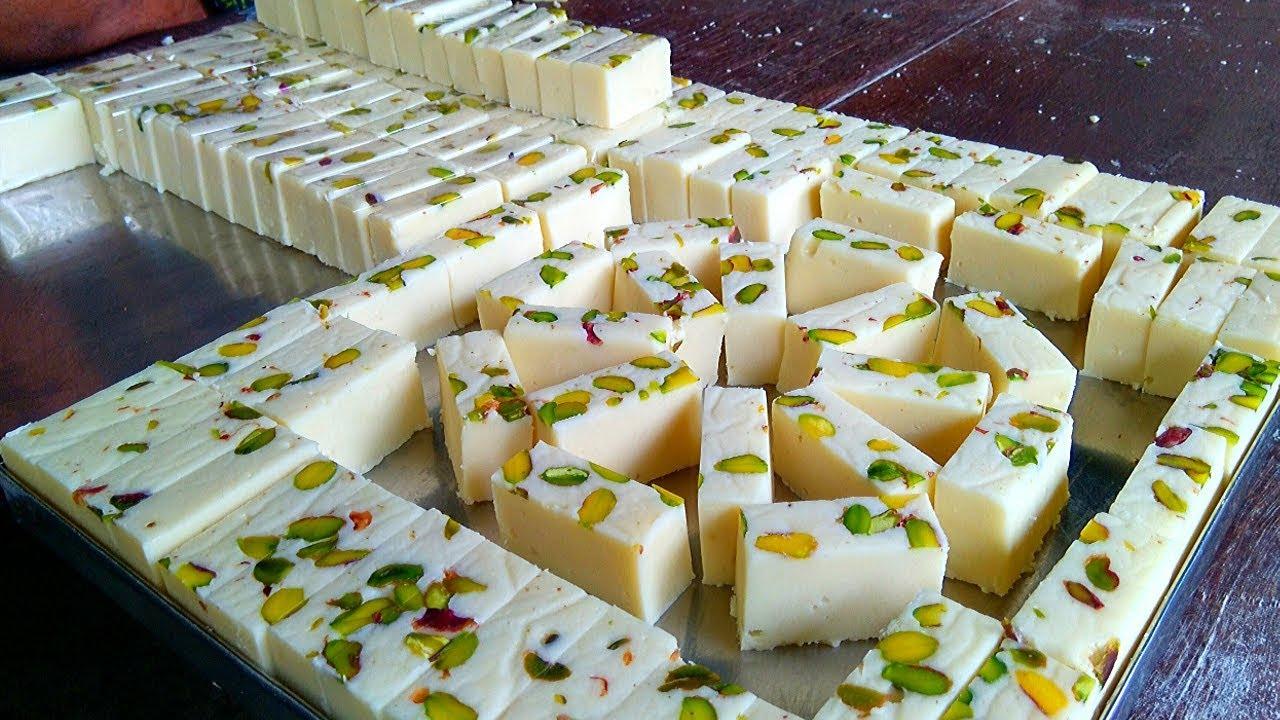 Milk Powder Burfi Sweet Recipe | How To Make Ice Cream Burfi | Milk Barfi | Indian Sweets Making