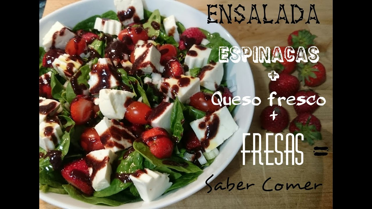 Receta de ensalada de espinacas frescas queso y fresas - Ensalada fresca de pasta ...
