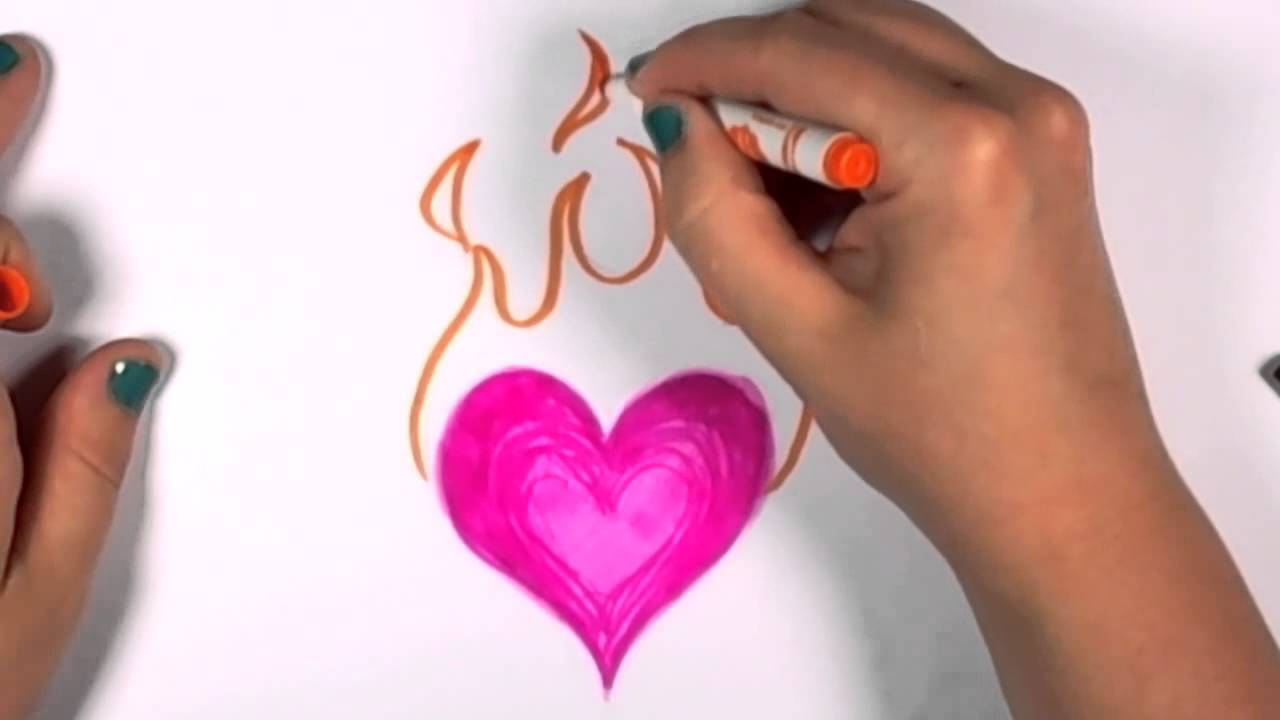 How to Draw a Flaming Heart Design - Voice Fix CC - YouTube