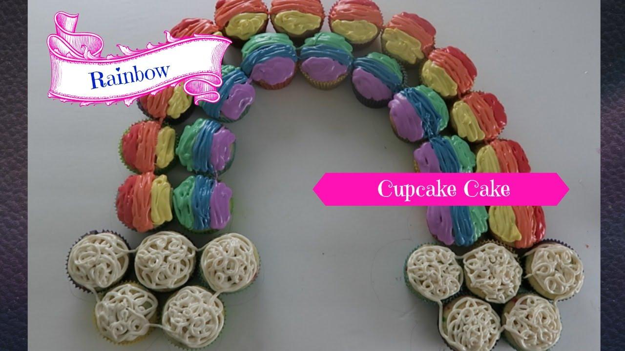 How To Make A Rainbow Cupcake Cake Youtube