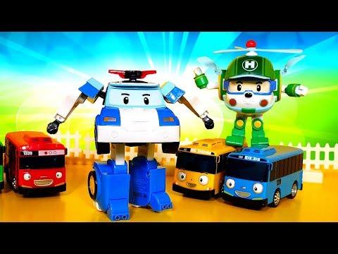 Машинки для малышей— Робокар Поли помогает Тайо— Развивающие игры: машины-помощники