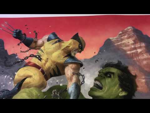 sideshow Collectibles Hulk vs. Wolverine Premium Art Print by Paolo Rivera