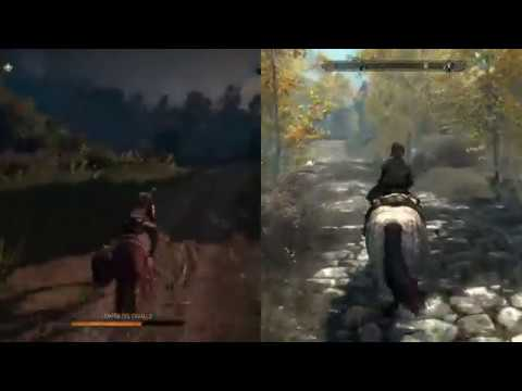 Witcher 3 Vs Skyrim Map Size Side By Side Comparison Youtube