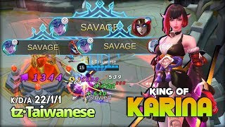 Triple Savage! King of Karina is Back?! tz·Taiwanese King of Karina ~ Mobile Legends