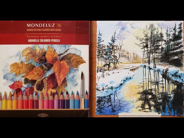 как нарисовать пейзаж цветными карандашами  draw a landscape