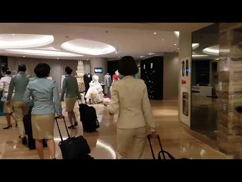 Korean Cabin Crew in uniform walking in the Hotel-Mamta Sachdeva