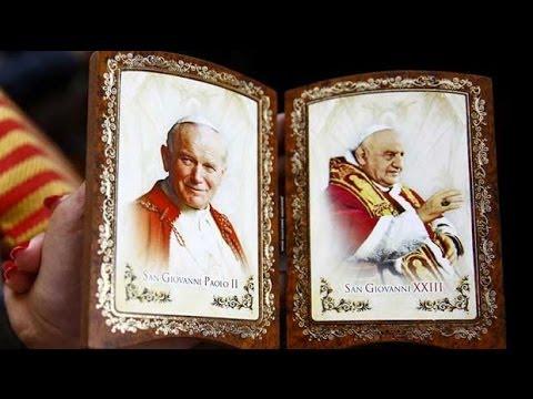 Pope Francis makes saints of Popes John XXIII and John Paul II