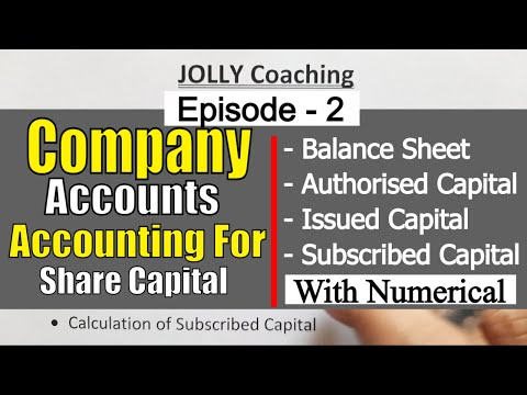 Episode #2 Company Account | Disclosure of Share Capital in Company's Balance Sheet | Class 12