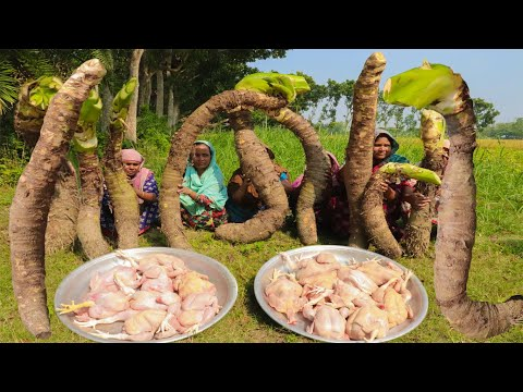 Most People Never Eat This Giant Taro - Chicken New Curry Recipe With Biggest VEG Taro Mashed Mixing