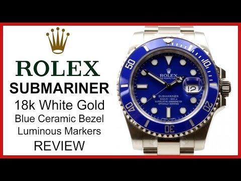 ▶ Rolex SUBMARINER, 18k white Gold, blue Dial & ceramic Bezel  REVIEW 116619