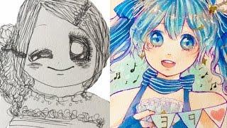 【7年間】小1〜中1までのイラスト成長記録【アナログ・コピック】 thumbnail