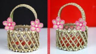 DIY Flower Basket with Jute Rope   Beautiful Basket with Plastic Bottle and Newspaper   Jute Basket