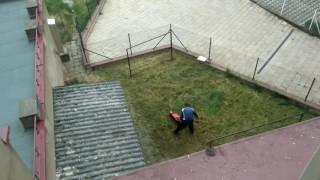 Cikán a sekačka na vysokou trávu