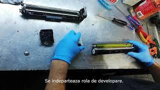 Incarcare (refill) cartus laser HP CF 402 AB / 201A yellow